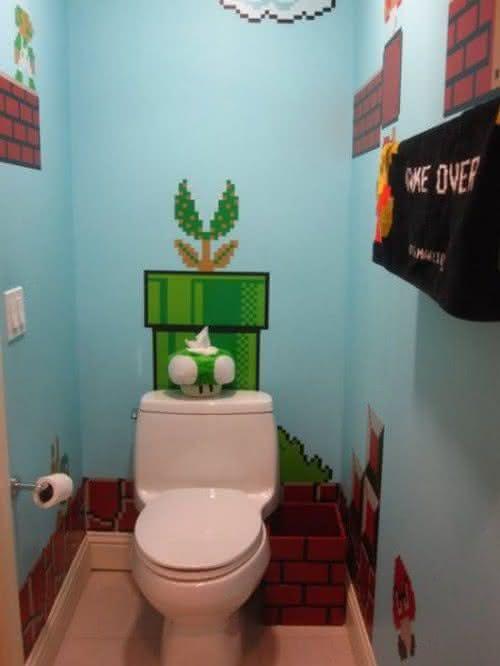 5 Ambientes com decoração do Mario Bros  Por que não pensei nisso?Por que nã -> Decoracao Geek Banheiro