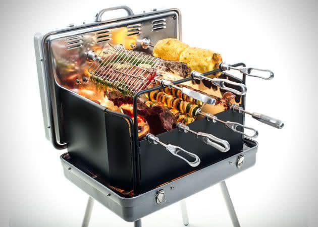Epicoa-Portable-Rotisserie-Grill, maleta-para-churrasco, maleta-churrasqueira, mala-para-churrasco, churrasco, porque-nao-pensei-nisso 1